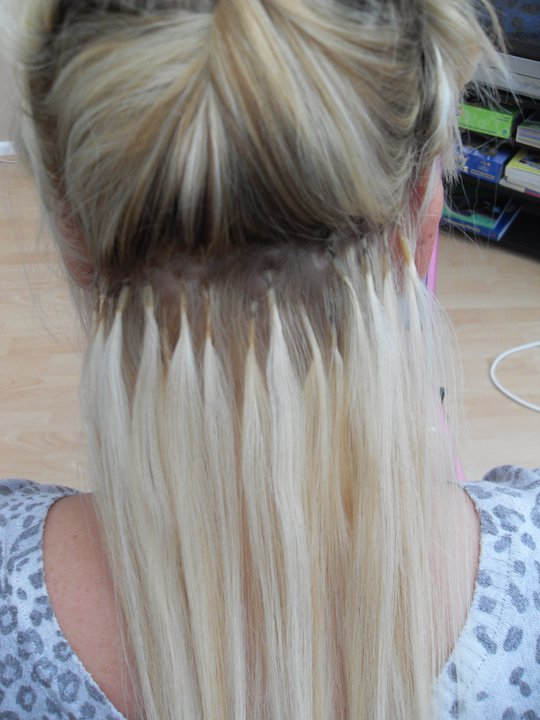 Bonded Extensions In Short Hair 11